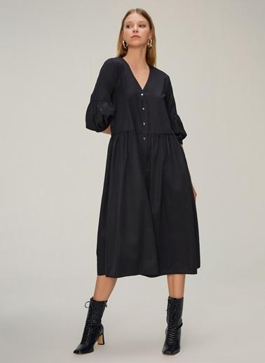 NGSTYLE Balon Kollu Midi Poplin Elbise Siyah